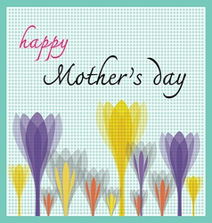 Happy mother day with tulip and dot pattern vector
