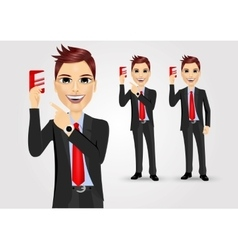 Businessmen pointing to business card vector