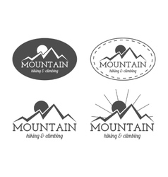 Set of monochrome mountain camp badge logo and vector