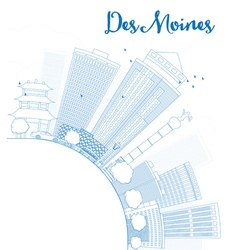 Outline des moines skyline vector