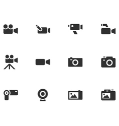 12 camera icons vector