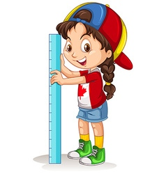 Canadian girl with measuring ruler vector