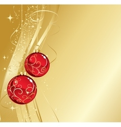 Background with red christmas baubles vector