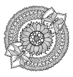 Circle summer doodle flower in mandala vector