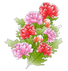Bunch of a peonies and green leafs vector