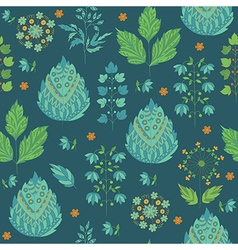 Abstract Seamless Pattern with Leaves and Flower vector image