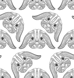 Seamless pattern rabbit coloring outlines in boho vector