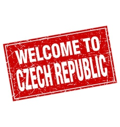 Czech republic red square grunge welcome to stamp vector