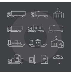 Logistics thin line icons set on dark background vector