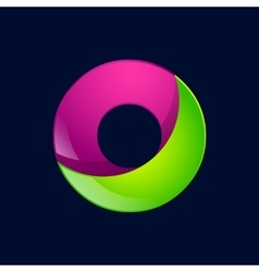 O letter green and pink logo design template vector image