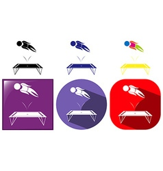 Trampoline jumping icon in three designs vector