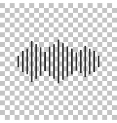 Sound waves icon dark gray icon on transparent vector