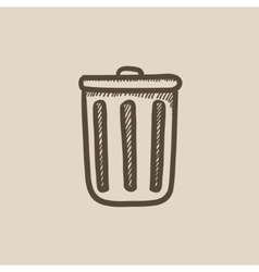 Trash can sketch icon vector