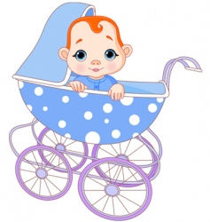 baby boy in carriage vector image vector image