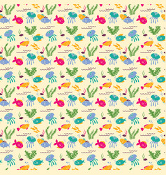 background with cartoon sea fishes and plants vector image vector image