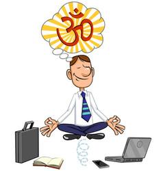 businessman sitting in lotus pose vector image