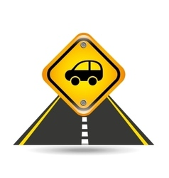 Car yellow road street sign vector