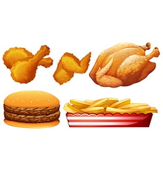 Chicken and fast food vector image vector image