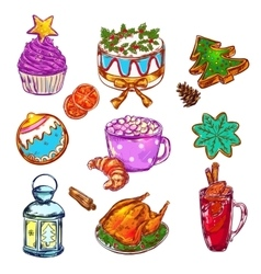 Christmas food sketch set vector