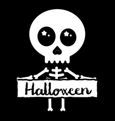 cute kawaii skeleton holding halloween sign vector image vector image
