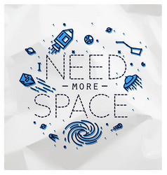 Flat more space monogram crumpled vector