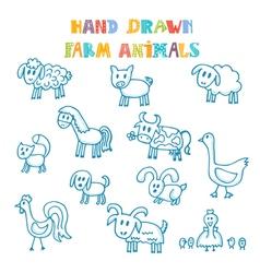 Hand drawn farm animals vector