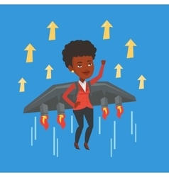 Happy business woman flying on rocket to success vector