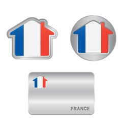 Home icon on the France flag vector image vector image