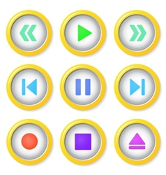 Media player buttons collection vector image vector image