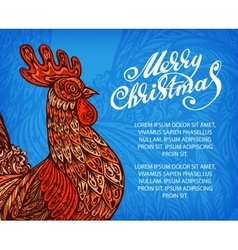 New Year congratulation design Rooster vector image