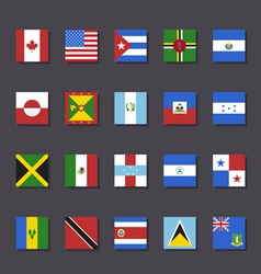 North America flag icon set Metro style vector image