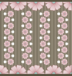 pattern with flowers stripes and white dots vector image vector image