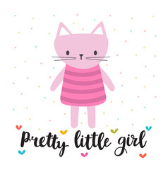 Pretty little girl cute little kitty romantic vector