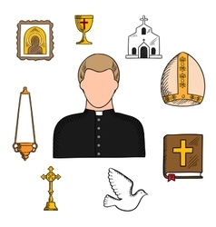 Priest profession with religious symbols vector