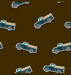 seamless pattern with farm truck vector image