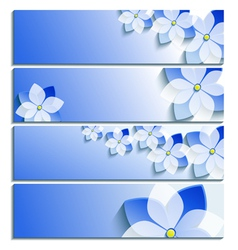Set of horizontal banners blue with sakura vector image vector image