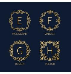 Set outline monograms frame vector image vector image