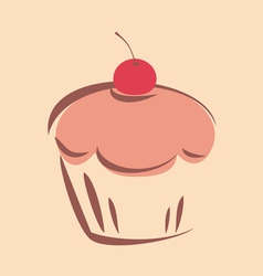 Sweet retro cupcake vector image