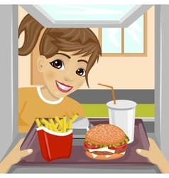 Teenager girl with fast food meals vector