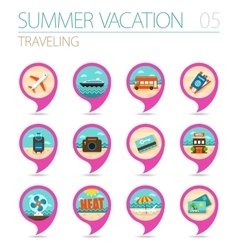 Traveling pin map icon set summer vacation vector