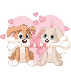 Two Valentine dogs vector image vector image
