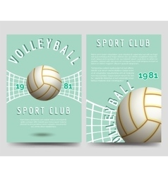 Volleyball brochure flyer template vector image vector image
