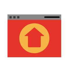 website or tab with upwards arrow icon image vector image