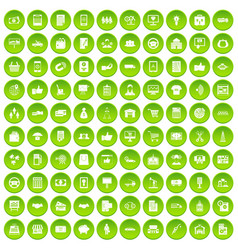 100 business icons set green circle vector