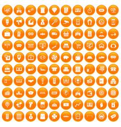 100 coin icons set orange vector