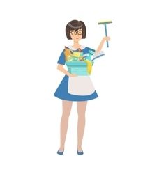 Hotel Professional Maid With Window Washing vector image