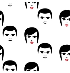 Woman and man faces hipster seamless vector