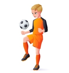 Young football or soccer player boy playing vector