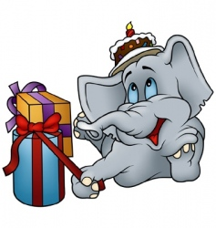 Elephant and gifts vector