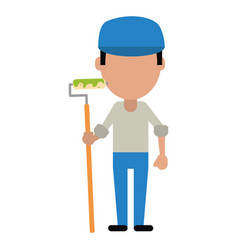 Man painter with roller and cap vector